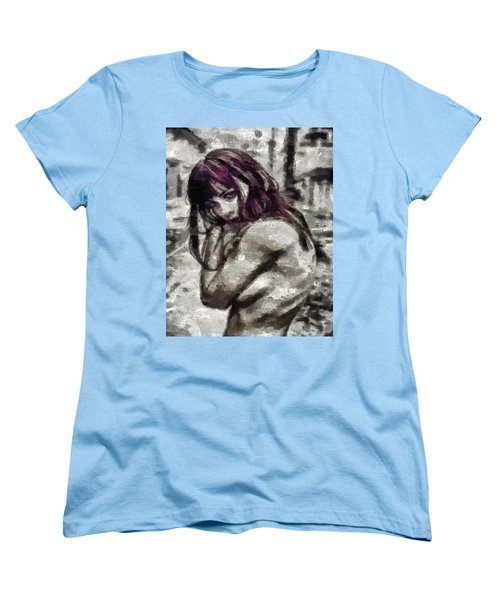 Women's T-Shirt (Standard Cut) featuring the painting An Insecure Heart by Joe Misrasi