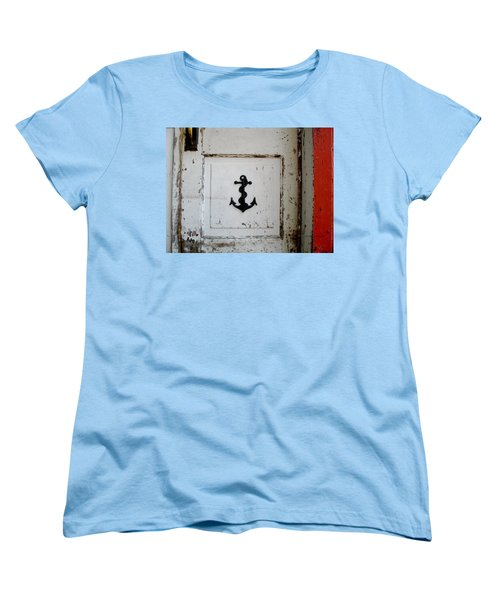 Anchor On Old Door Women's T-Shirt (Standard Cut) by Kathy Barney