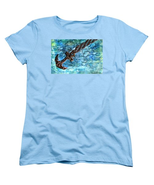 Women's T-Shirt (Standard Cut) featuring the painting Anchor Under Water Alcohol Inks by Danielle  Parent