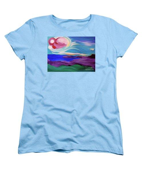 Women's T-Shirt (Standard Cut) featuring the painting Angel Sky by First Star Art