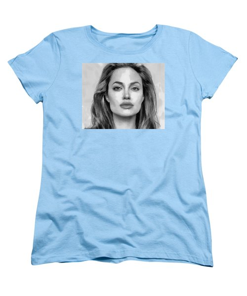 Angelina Jolie Black And White Women's T-Shirt (Standard Cut) by Georgi Dimitrov