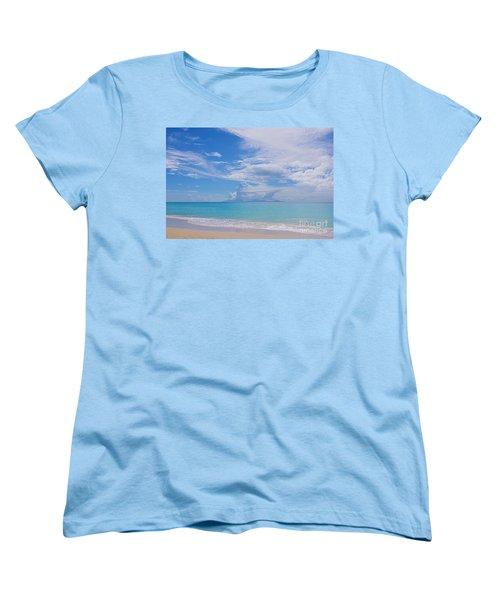 Antigua View Of Montserrat Volcano Women's T-Shirt (Standard Cut) by Olga Hamilton