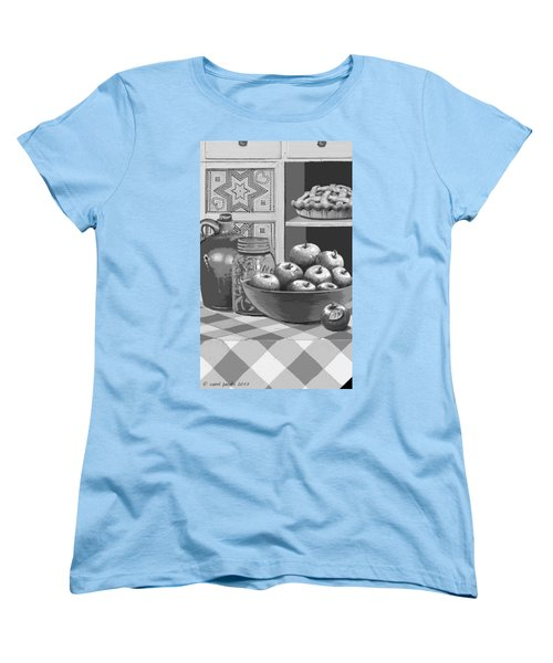 Women's T-Shirt (Standard Cut) featuring the digital art Apples Four Ways by Carol Jacobs
