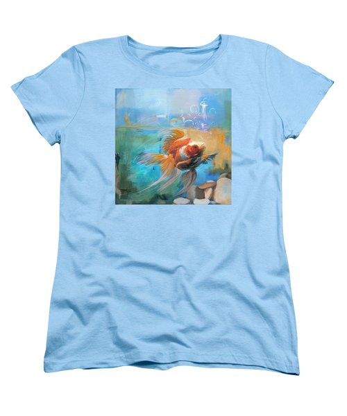 Aqua Gold Women's T-Shirt (Standard Cut) by Catf