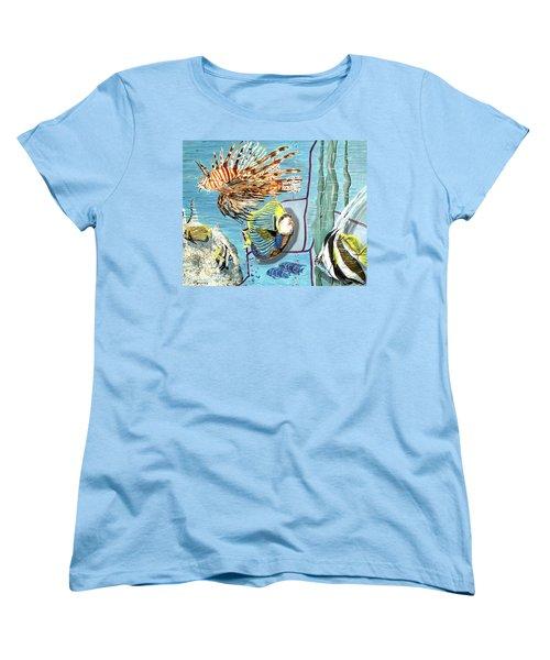 Women's T-Shirt (Standard Cut) featuring the painting Aquarium by Daniel Janda