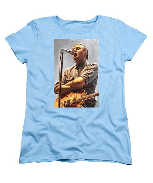 Women's T-Shirt (Standard Cut) featuring the painting Arcade Fire Win Butler Artwork by Sheraz A