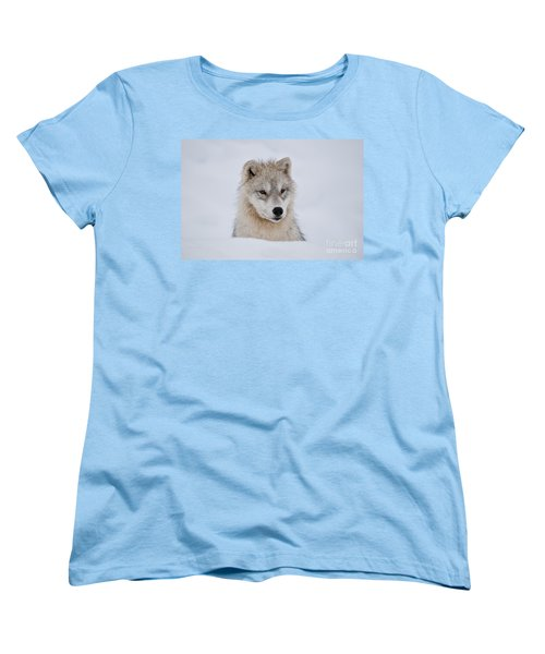 Arctic Pup In Snow Women's T-Shirt (Standard Cut) by Wolves Only
