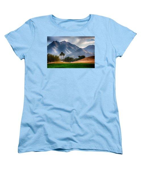 Arizona Sunrise Golfing Women's T-Shirt (Standard Cut) by Fred Larson