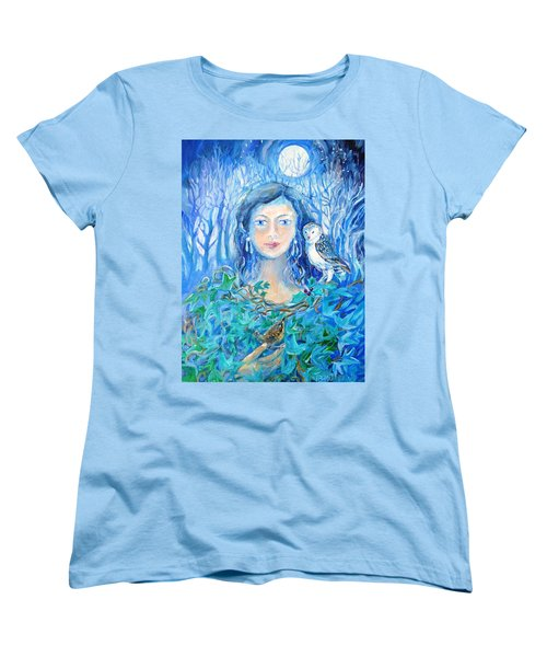 Artemis And The Wren- Women's T-Shirt (Standard Cut) by Trudi Doyle