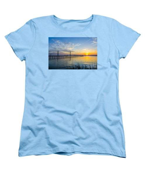 Women's T-Shirt (Standard Cut) featuring the photograph Calm Waters Over Charleston Sc by Dale Powell
