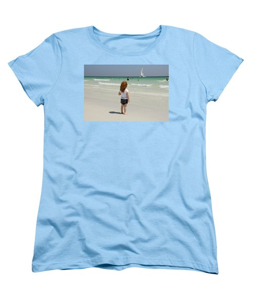 As The Sail Boat Rolls By Women's T-Shirt (Standard Cut) by Charles Beeler