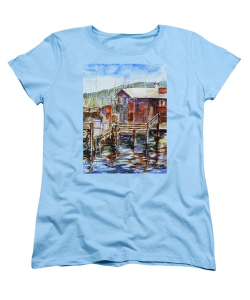 At Monterey Wharf Ca Women's T-Shirt (Standard Cut) by Xueling Zou