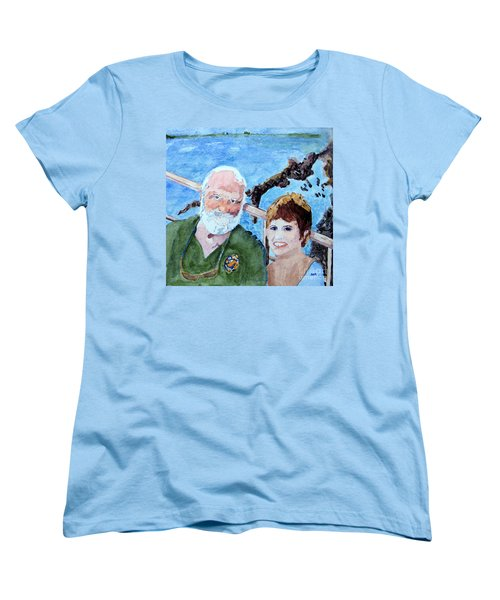 Women's T-Shirt (Standard Cut) featuring the painting At The Dock Of The Bay by Sandy McIntire