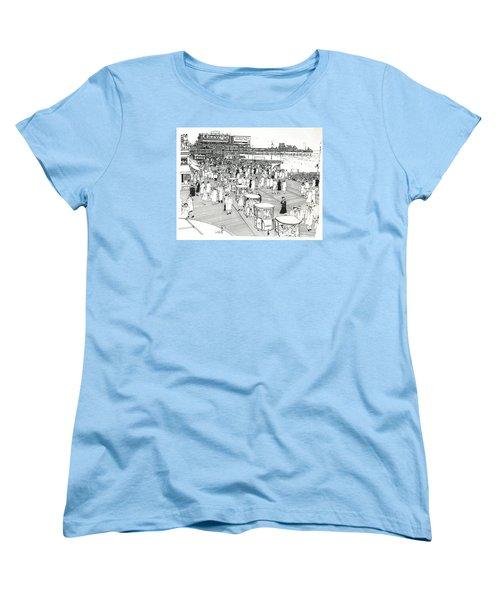 Women's T-Shirt (Standard Cut) featuring the drawing Atlantic City Boardwalk 1940 by Ira Shander