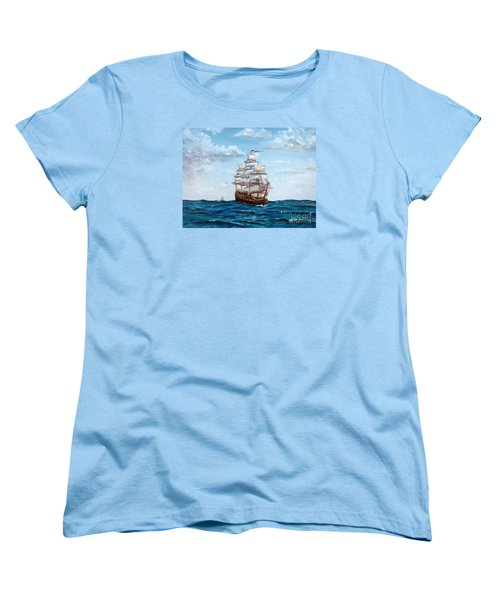 Women's T-Shirt (Standard Cut) featuring the painting Atlantic Crossing  by Lee Piper
