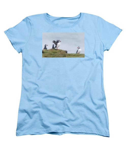 Atlantic Puffins Fratercula Arctica Women's T-Shirt (Standard Cut) by Panoramic Images