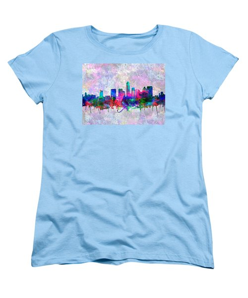Austin Texas Skyline Watercolor 2 Women's T-Shirt (Standard Cut) by Bekim Art