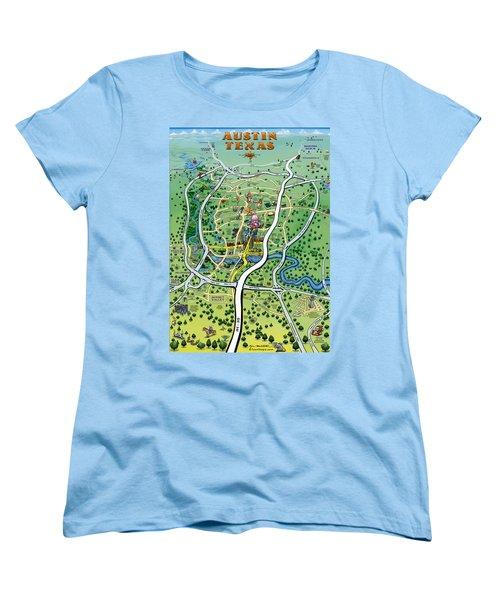 Austin Tx Cartoon Map Women's T-Shirt (Standard Cut) by Kevin Middleton