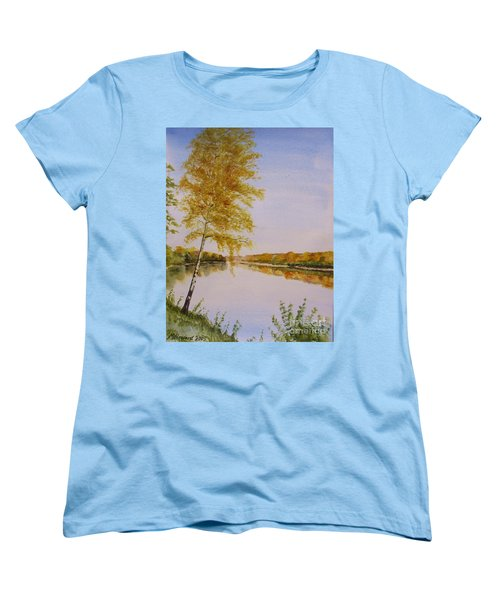 Women's T-Shirt (Standard Cut) featuring the painting Autumn By The River by Martin Howard