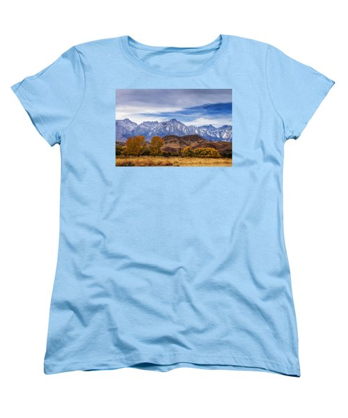 Women's T-Shirt (Standard Cut) featuring the photograph Autumn Colors And Mount Whitney by Andrew Soundarajan