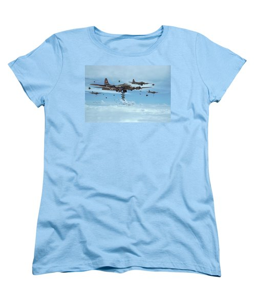 B17 - Mighty 8th Arrives Women's T-Shirt (Standard Cut) by Pat Speirs