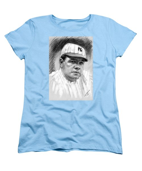 Women's T-Shirt (Standard Cut) featuring the drawing Babe Ruth by Viola El