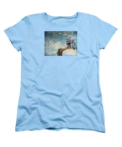 Baby Blue Jay In Winter Women's T-Shirt (Standard Cut) by Janette Boyd