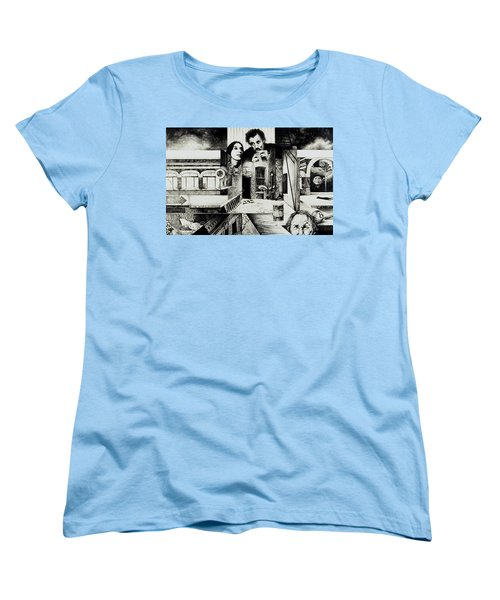 Women's T-Shirt (Standard Cut) featuring the drawing Backlane Serenade by Otto Rapp
