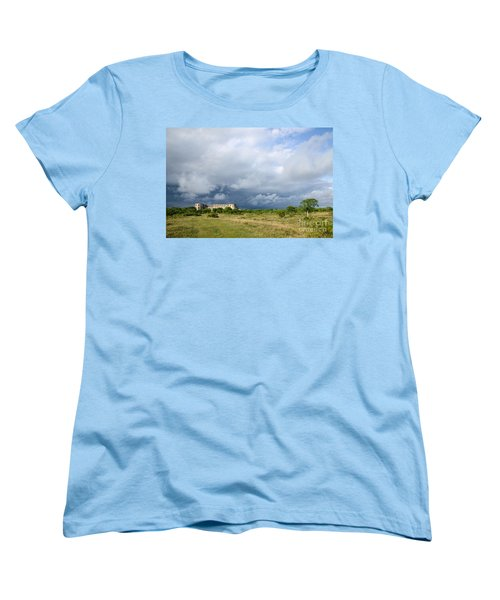 Women's T-Shirt (Standard Cut) featuring the photograph Bad Weather Is Coming Up At  A Medieval Castle Ruin by Kennerth and Birgitta Kullman
