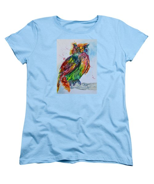 Women's T-Shirt (Standard Cut) featuring the painting Baffled Owl by Beverley Harper Tinsley