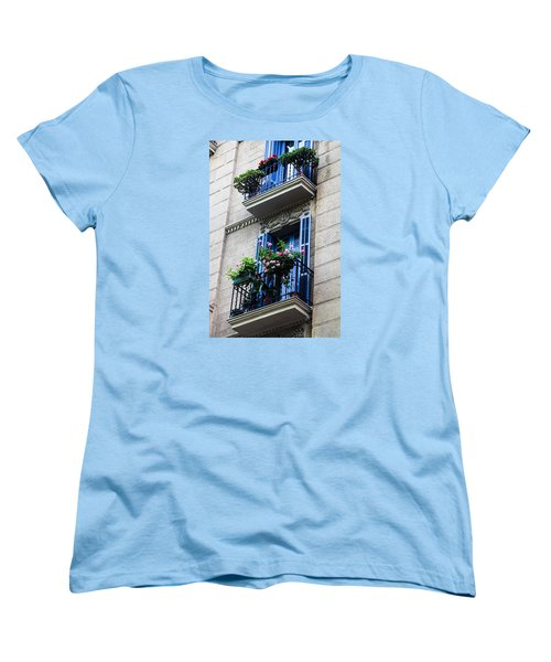 Balconies In Bloom Women's T-Shirt (Standard Cut) by Menachem Ganon