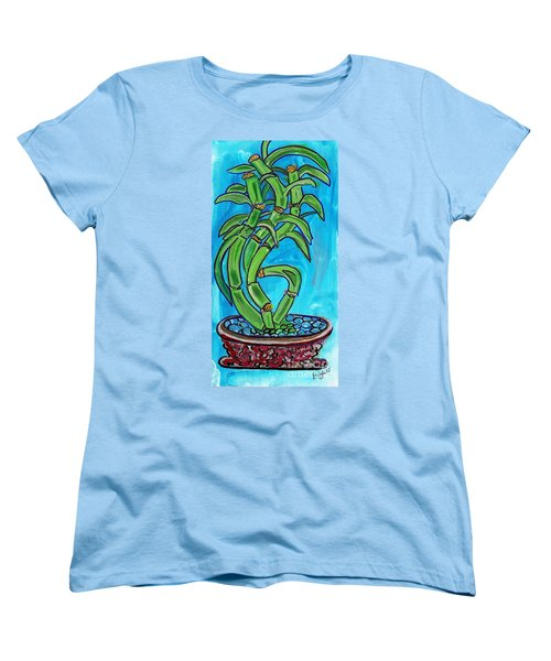 Women's T-Shirt (Standard Cut) featuring the painting Bamboo Twist by Ecinja Art Works