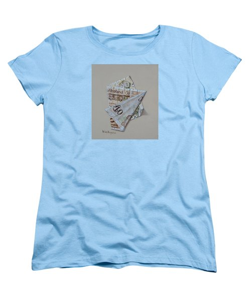 Bank Of Ireland Ten Pound Banknote Women's T-Shirt (Standard Cut) by Barry Williamson