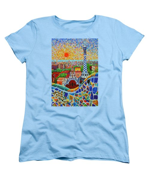 Barcelona Sunrise - Guell Park - Gaudi Tower Women's T-Shirt (Standard Cut) by Ana Maria Edulescu