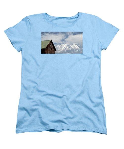 Women's T-Shirt (Standard Cut) featuring the photograph Barn And Clouds by Joseph J Stevens