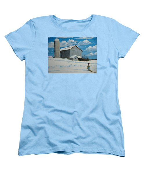 Women's T-Shirt (Standard Cut) featuring the painting Barn And Pheasant by Norm Starks