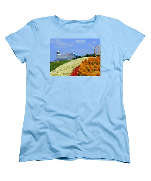 Barn And Quilt Garden Women's T-Shirt (Standard Cut) by Tina M Wenger