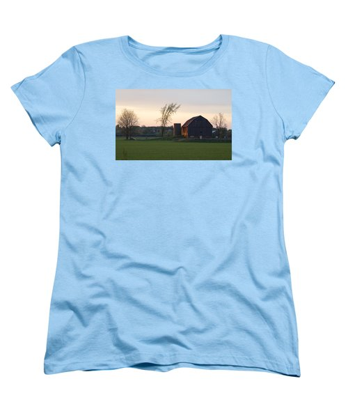 Barn At Dusk Women's T-Shirt (Standard Cut) by David Porteus