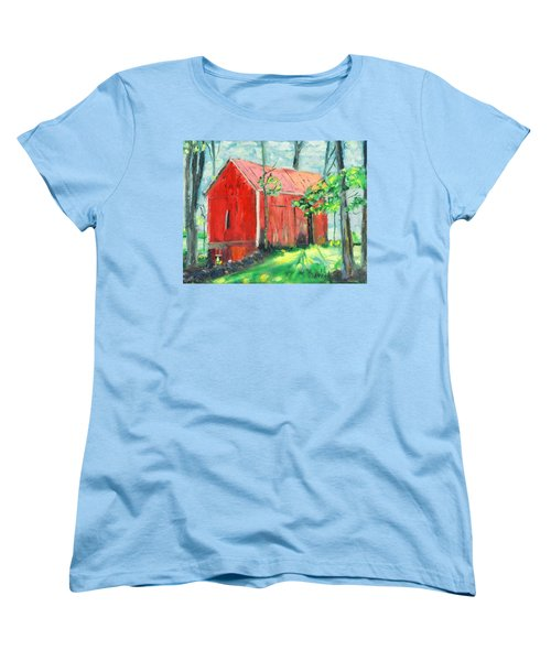 Women's T-Shirt (Standard Cut) featuring the painting Barn At Walpack by Michael Daniels
