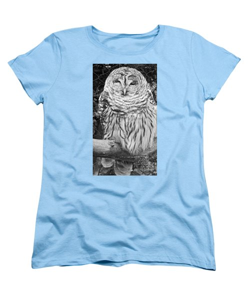 Barred Owl In Black And White Women's T-Shirt (Standard Cut) by John Telfer