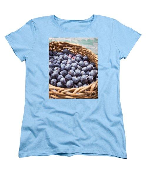 Basket Of Fresh Picked Blueberries Women's T-Shirt (Standard Cut) by Edward Fielding