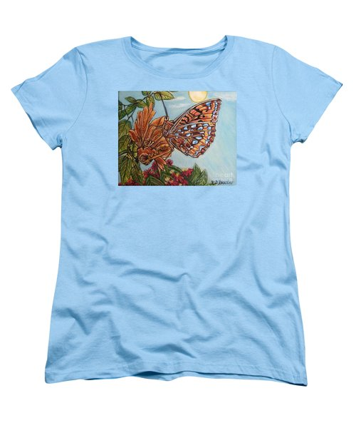 Women's T-Shirt (Standard Cut) featuring the painting Basking In The Warmth Of The Sun In A Tropical Paradise Painting by Kimberlee Baxter
