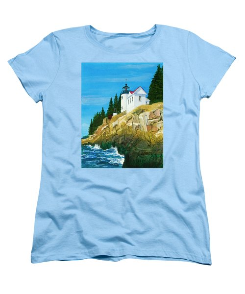 Bass Harbor Lighthouse Women's T-Shirt (Standard Cut) by Mike Robles