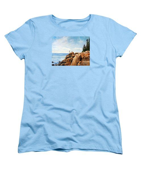 Women's T-Shirt (Standard Cut) featuring the painting Bass Harbor Rocks by Lee Piper