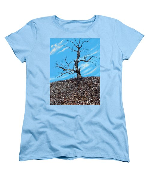 Women's T-Shirt (Standard Cut) featuring the painting Battle Scars by Meaghan Troup