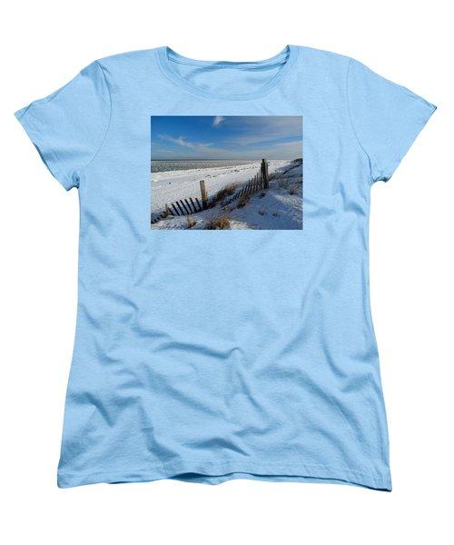 Beach On A Winter Morning Women's T-Shirt (Standard Cut) by Dianne Cowen