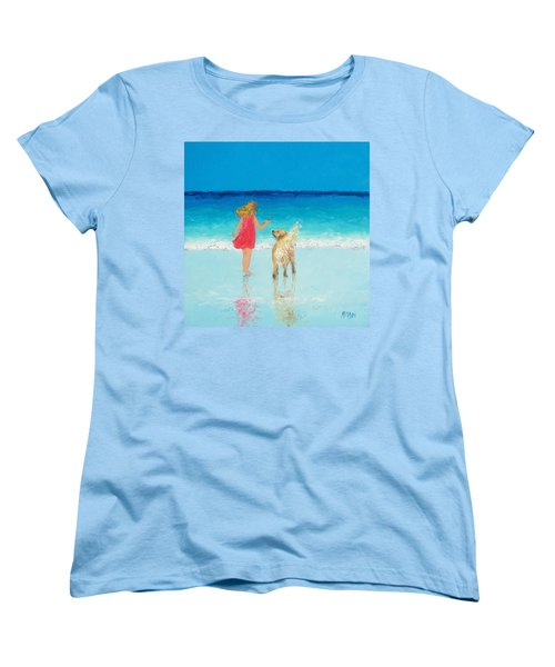 Beach Painting 'sunkissed Hair'  Women's T-Shirt (Standard Cut) by Jan Matson