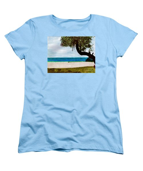 Women's T-Shirt (Standard Cut) featuring the drawing Beach Side by D Hackett