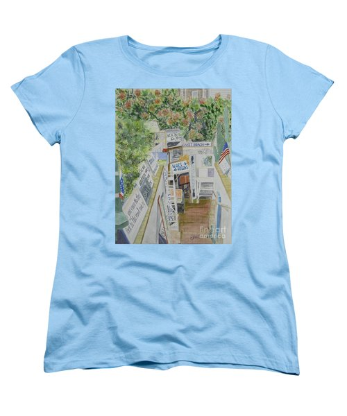 Women's T-Shirt (Standard Cut) featuring the painting Beach Signs by Carol Flagg
