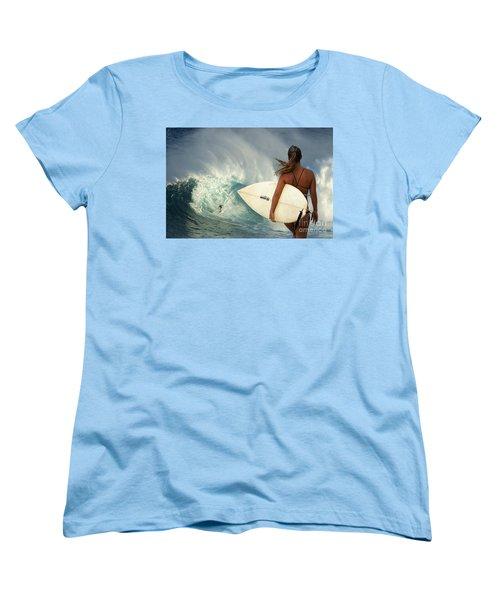 Surfer Girl Meets Jaws Women's T-Shirt (Standard Cut) by Bob Christopher